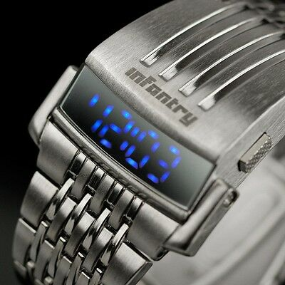 INFANTRY Mens LED Digital Wrist Watch Date Month Sports Luxury Stainless Steel