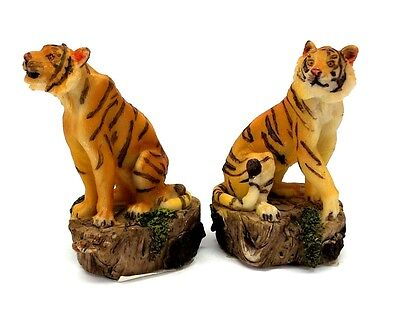 Set of 2 Small Bengal Tiger Figurines Wild Cat Collectible Statues