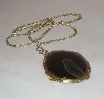Victorian Oval Agate & Gold Plated Brooch / missing pin, on chain as pendant
