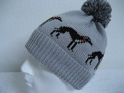 Greyhound /whippet Knitted Silver Grey Pompom Hat Adult Size