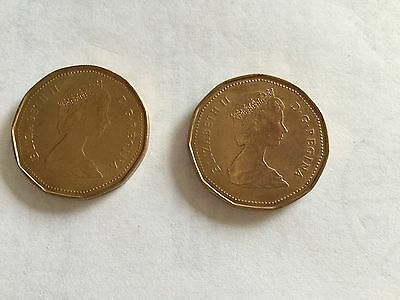 CANADA Coins (Two) - 1 Dollar (Loon/Loonie) - 1987