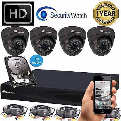 SWATCH 4CH 2MP 1080P HD DVR CCTV Outdoor Home Security Camera System Kit 1TB HDD