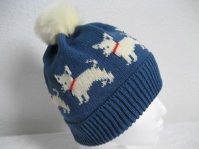 Chihuahua Dog Denim Blue Knitted Hat With Faux Fur Pompom Adult Size