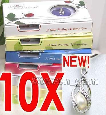 Wish Pearl 10X Drop Pendant Necklace for Women Natural Oyster Love Pearl Chokers