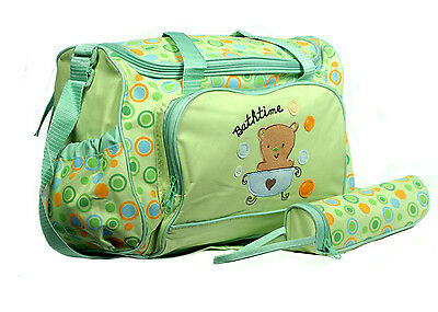 Bathtime 3 Piece Baby Diaper Nappy Changing Bag with Mat & Bottle Holder(BA)