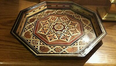 Middle Eastern Octagonal Wooden Tray With Mother Of Pearl & Marquetry Inlay
