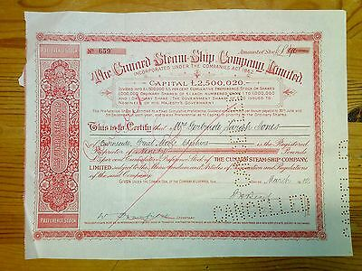 The Cunard steam ship company 90 pound share certificate