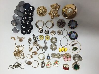 Vintage Junk Drawer Jewelry Lot Over 60 Pieces ALL BROKEN Sterling Gold Stones