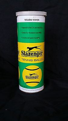 Vintage Slazenger Yellow and Green Unopened Can of 3 Tennis Balls Made in Englan