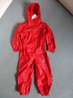 Regatta Puddle Suit - Kids 2-3 Breathable Waterproof All In One Rainsuit - Red