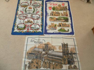 3 Souvenir Linen Tea Towels Ely Cathedral,city Of York,1977 Queens Silver Jubile