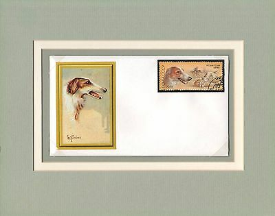 Borzoi dog custom matted handcrafted one-of-a kind cover stamp cachet