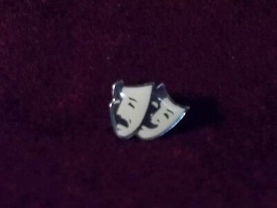 Theater / Actors' B&W Comedy & Tragedy Masks Enamel Pinback Pin Badge Button