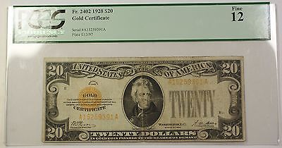 1928 United States $20 Dollar Gold Certificate Fr. 2402 PCGS F-12 PM