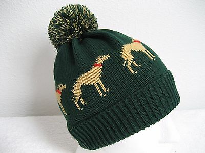 Greyhound / Whippet Knitted Bottle Green Pompom Hat Adult Size