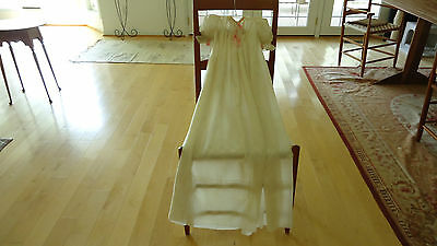 Antique Lovely Silk Christening Gown Beautiful Condition/ Bows Lace & Ribbons