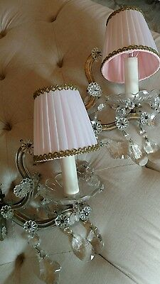 PAIR OF ITALIAN maria thEresa CRYSTAL PRISM sconces WALL LAMPS PINK SHADES lamps