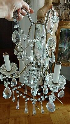 SHABBY Antique VTG PAIR MACARONI beaded MIRROR CRYSTAL PRISM ITALIAN sconces