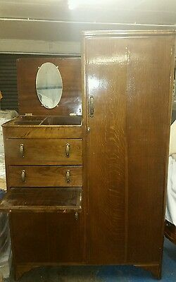 Rare Oak  Wardrobe combined  with  chest of drawers