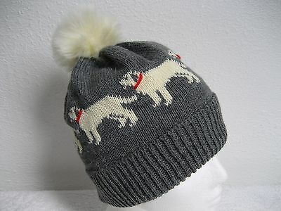 Labrador Retriever Dog Knitted Soft Grey Hat With Faux Fur Pompom Adult Size