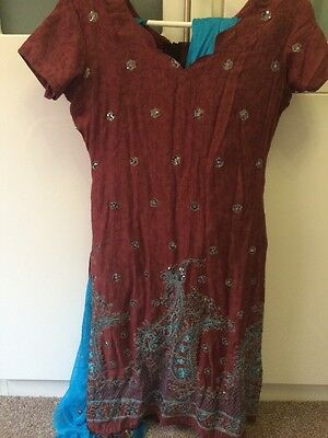 Brown And Aqua Blue Indian Suit