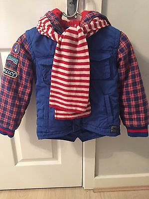 Young Boys Blue And Tartan Oilily Coat With Detachable Scarf Age 7
