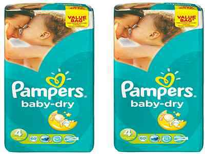 120 couches Pampers BABY DRY Taille 4 (2 paquets de 60 couches) à 27€