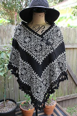 Mexican Rebozo Puebla Hueyapan Natural Colorful Cape Huipil Embroidered Stitch
