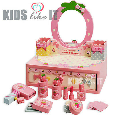 NEW Kids GIRLS Pink  Wooden Make Up BEAUTY Table Pretend PLAY Toy SET  Xmas GIFT