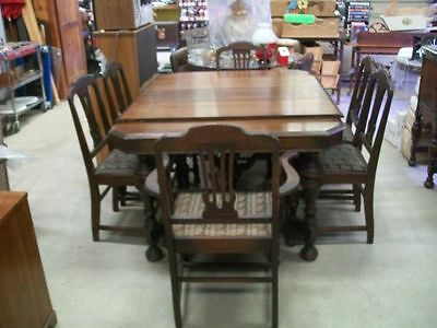 Antique  Walnut  Dining  Table -  Chairs  And  Buffet