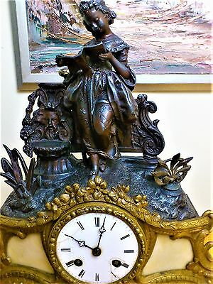Antique Bronzed & Gilt Metal Figural Mantel Clock.