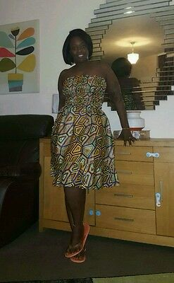 African Wax 100% Cotton Dress - Multi Colour (One Size)