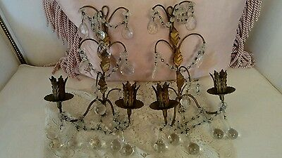 PAIR ANTIQUE VTG ITALIAN macaroni beaded sconces CANDLE LAMPS CRYSTAL PRISMS