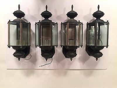 Set of 4 Vintage Outdoor Gothic Wall Lanterns
