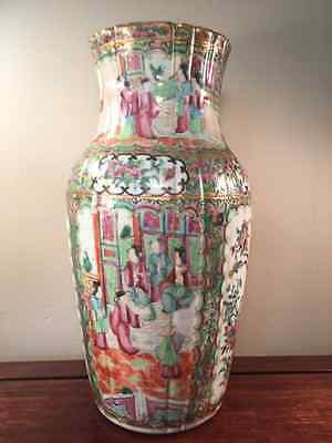 Fine 19th Century Very Large & Ribbed Famille Rose Vase