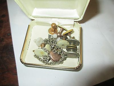 Cuff buttons, collar?? vintage. hinged jewelry box