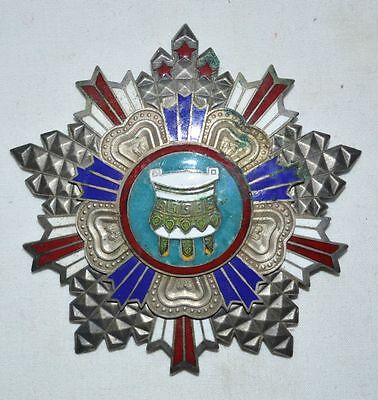 Republic China Soldier Honour 3Stars BaoDing Award Cloisonne Silver Copper Medal