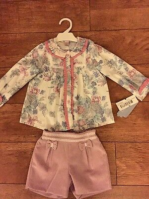 BNWT Romany Spanish Shorts And Shirt Set Age 36 By Kiriki