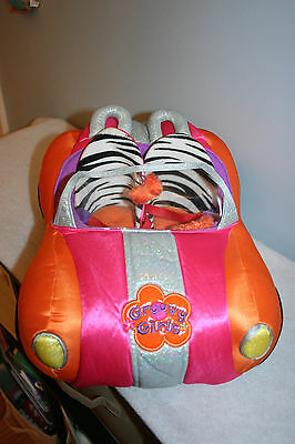 Groovy Girls Plush Orange/Hot Pink Zebra Convertible Car for Dolls Used Cond.