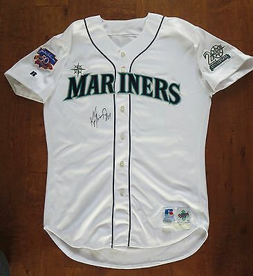 SEATTLE MARINERS/KEN GRIFFEY Jr. GAME-USED BASEBALL JERSEY W/RARE PATCHES. & COA