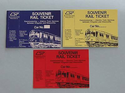 Queensland Railways - First Electric Train Tickets - Kingston Shorncliffe - 1982