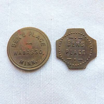 Lot of 2 Wabasso Minnesota Ben's Place 5c at the Bar trade tokens - MN