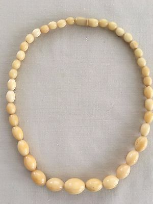 Vintage Chinese ? Bovine Bone ? Graduated Oval Bead Choker Necklace