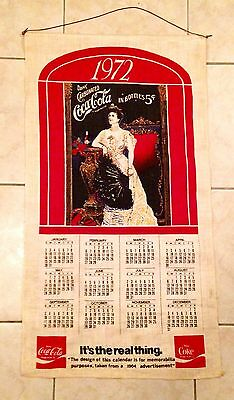 Rare Linen 1972 Coca-Cola Coke Calendar From A 1903 Advertisement