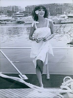 CA138 Orig Photo JOAN COLLINS The Stud Sexy Actress Cannes Film Festival Yacht