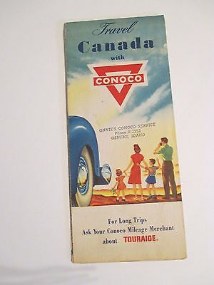 Vintage 1951 CONOCO Travel CANADA Oil Gas Service Station Road Map