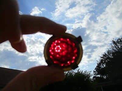 Vintage Ruby Red Glass Faceted Hubbell Light Lens Aviation Rat Rod Industrial