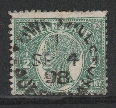1890-96 QUEENSLAND 1/2d GREEN 3RD SIDEFACE STAMP - USED