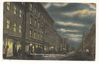West Patrick Street from Court City Hotel FREDERICK MD Vintage Maryland Postcard