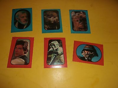 Star Wars Cards Stickers 1983 6 stickers cards UNUSED Return of the Jedi